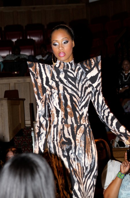 A model displays a Kelvin Haydon design on the runway at Little Rock Fashion Week 2011. Photo courtesy of Kelvin Haydon.