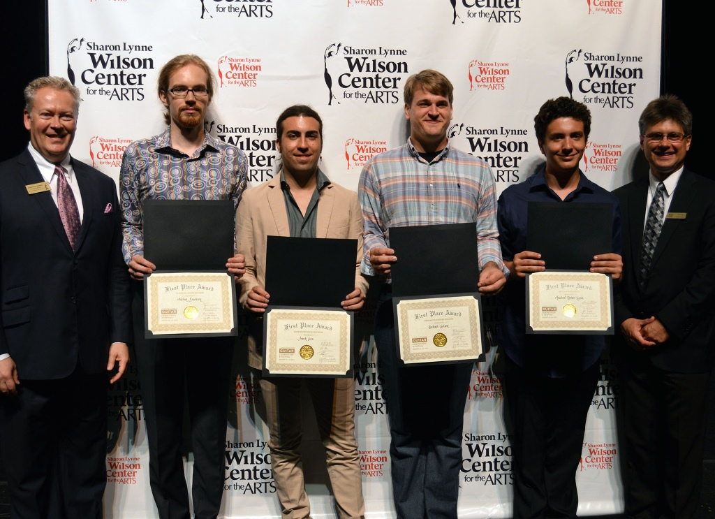 L-R: Wilson Center President & CEO Jonathan Winkle, Classical Genre first-place winner Nathan Bredeson (Ottawa, Canada), Rock/Blues first-place winner Frank Cara (Salerno, Italy), Fingerstyle first-place winner Rachael Carlson (Milwaukee, Wis.), Jazz first-place winner Matthew Rotker-Lynn (Milwaukee, Wis.), and Wilson Center Guitar Competition & Festival Manager Don Sipe.