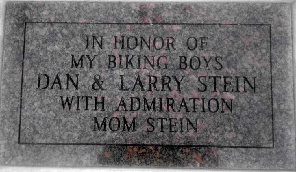 """In Honor of My Biking Boys Dan & Larry Stein With Admiration Mom Stein."" Photo by Michael Horne."
