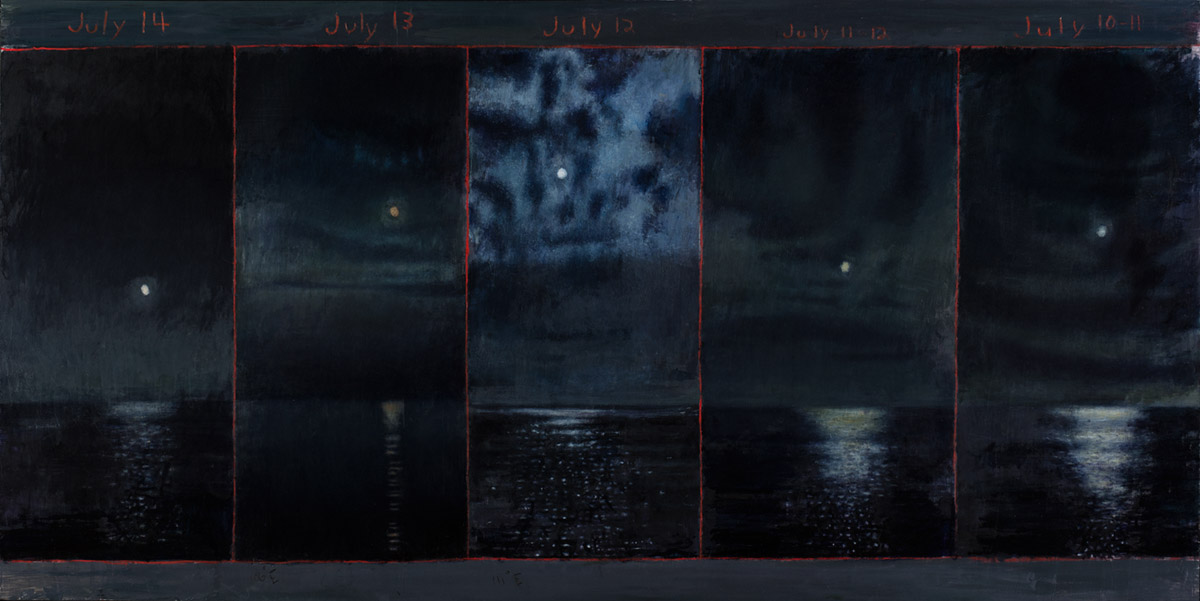 David Niec: July Moon Cycle Over Lake Michigan (panel 3). From 2014-15, and is an oil on panel.