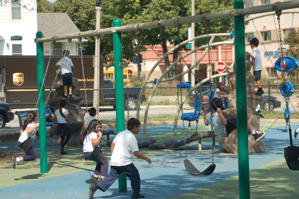 Bruce Guadalupe Community School students play at the park during recess. Photo by Edgar Mendez.