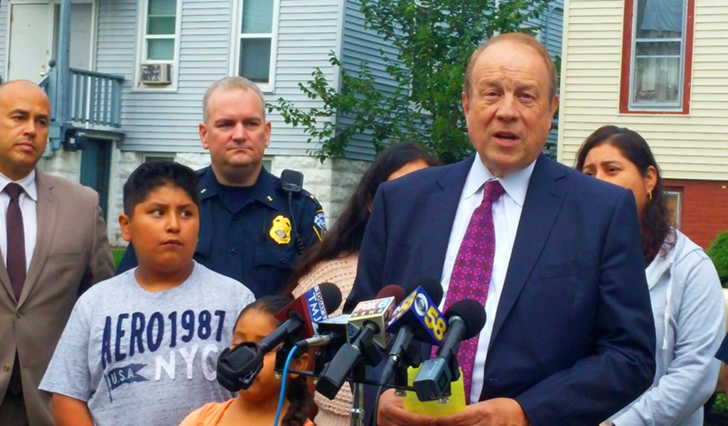 Attorney Michael Hupy announces the $25,000 reward. Photo courtesy of  of Hupy and Abraham, S.C.