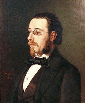 An oil portrait of Smetana, 1854, by Geskel Saloman