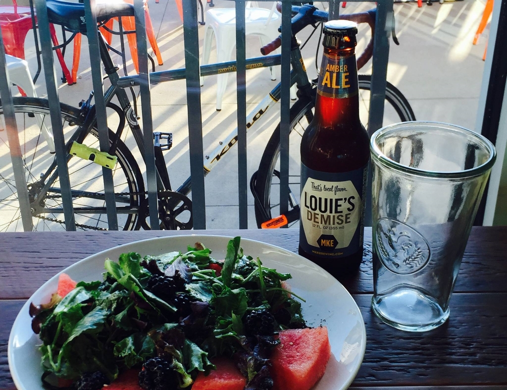 The Beerline Cafe Spring + Summer salad with Milwaukee Brewing Co Louie's Demise. Photo from Facebook.