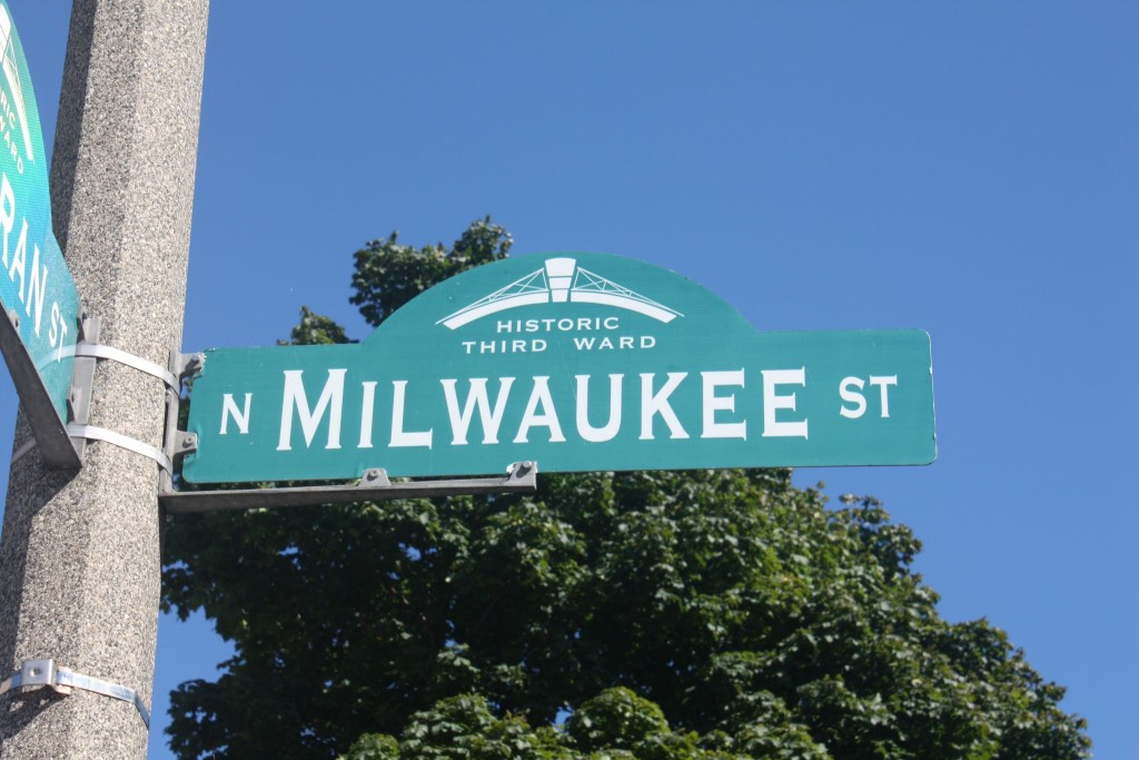 Milwaukee Street sign in the Historic Third Ward. Photo by Carl Baehr.