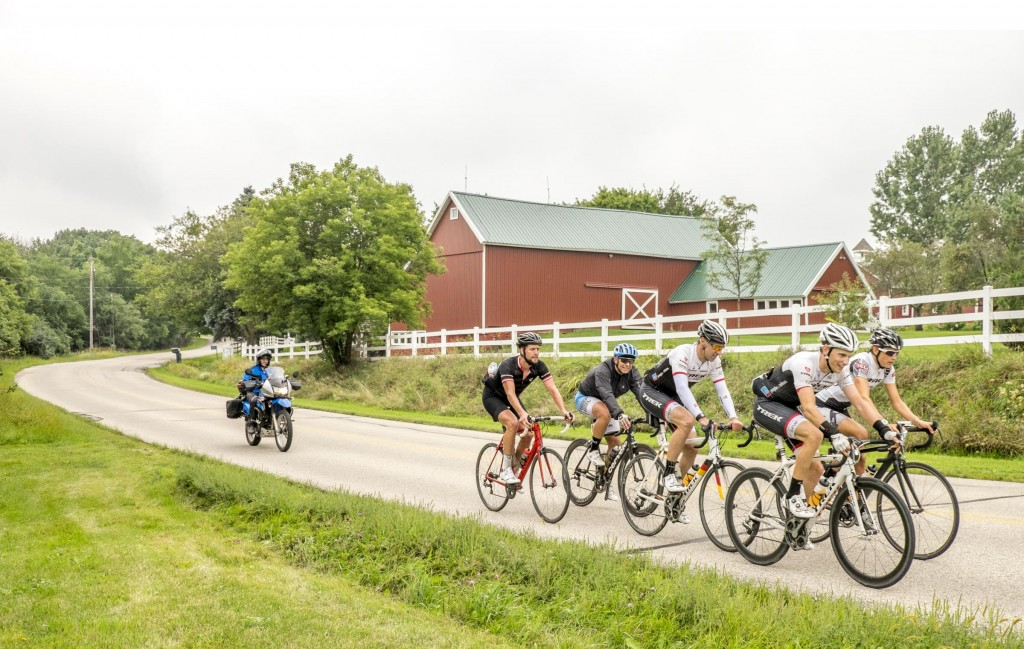 Jens and some Trek employees ride past a pastoral Wisconsin scene east of Walworth.