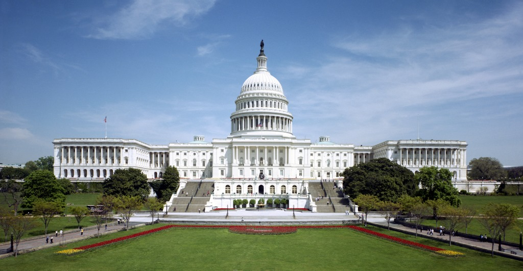Western front of the U.S. Capitol. Public domain.