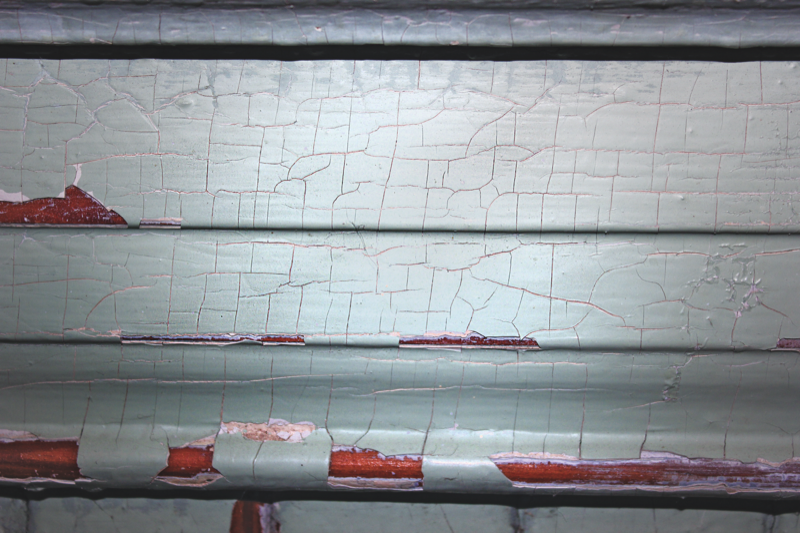 The pattern of cracks visible in this image is typical of older lead-based paint. But the lack of the crack pattern doesn't imply the surface is lead-free, because it could be painted over. Photo from the National Institute of Environmental Health Sciences.