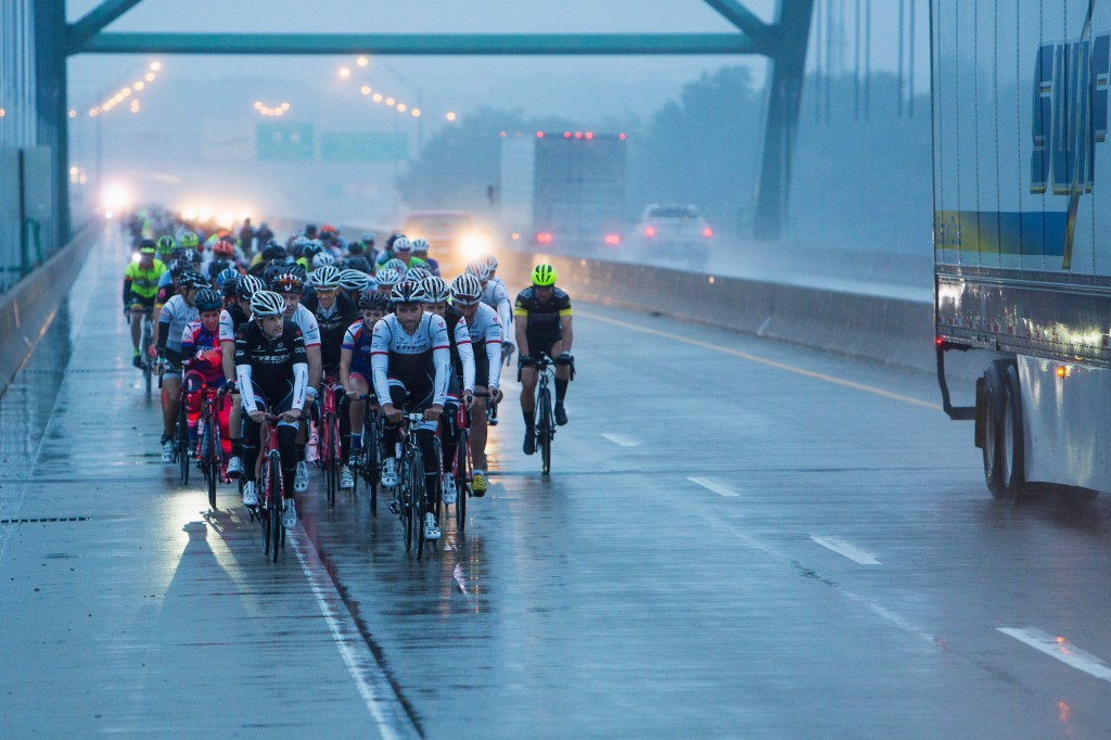 Trek Factory Racing leading everyone over the Mississippi at 6:35 a.m.