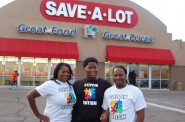 (From left) Deon, Deontay and Mykel Farr regularly shop at the Save-A-Lot store in the Silver Mill Mall on North Teutonia Avenue. Photo by Andrea Waxman.