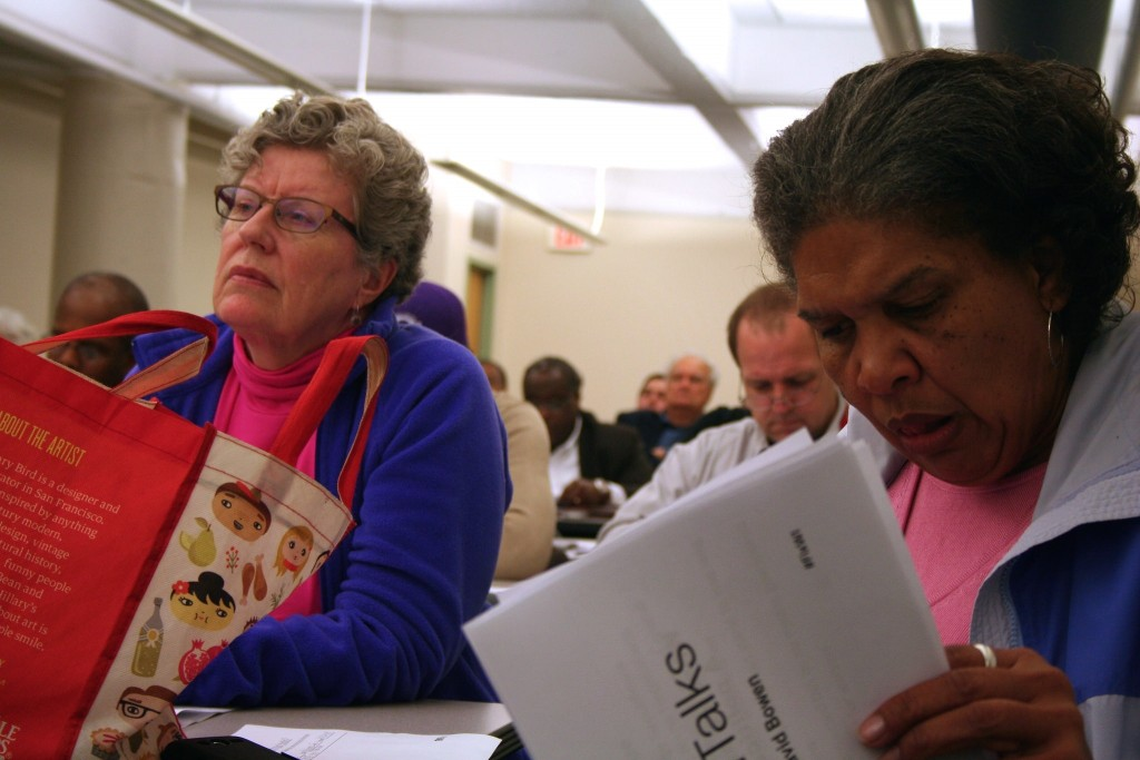 Attendees look on during the event, the first of a monthly series. Photo by Jabril Faraj.