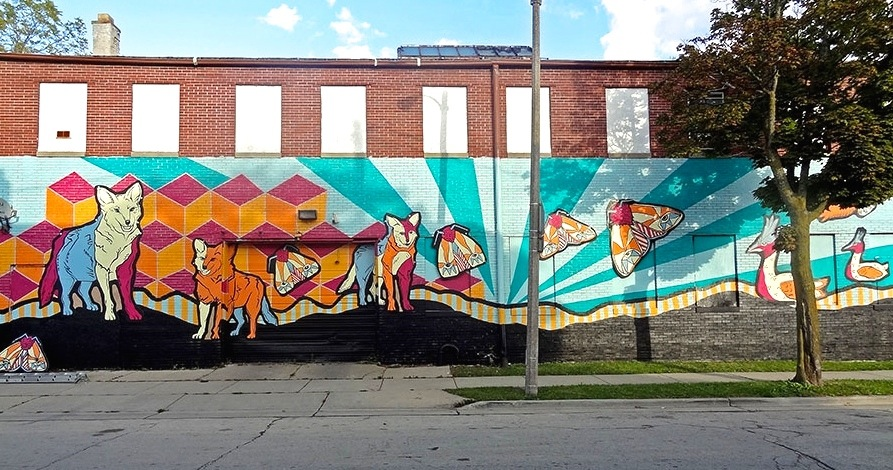 """The mural, titled """"A Source of Life,"""" as seen from 31st Street. Photo by Jeff Redmon."""