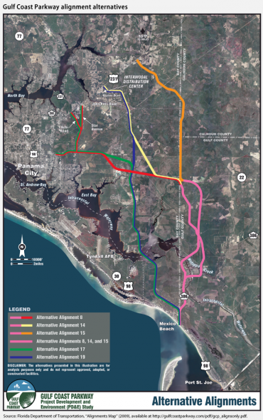 The Gulf Coast Parkway: spending $422 million to accommodate traffic that will never exist. Image: FDOT