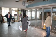 Joan Johnson leads a tour of the Tippecanoe Library renovation project.
