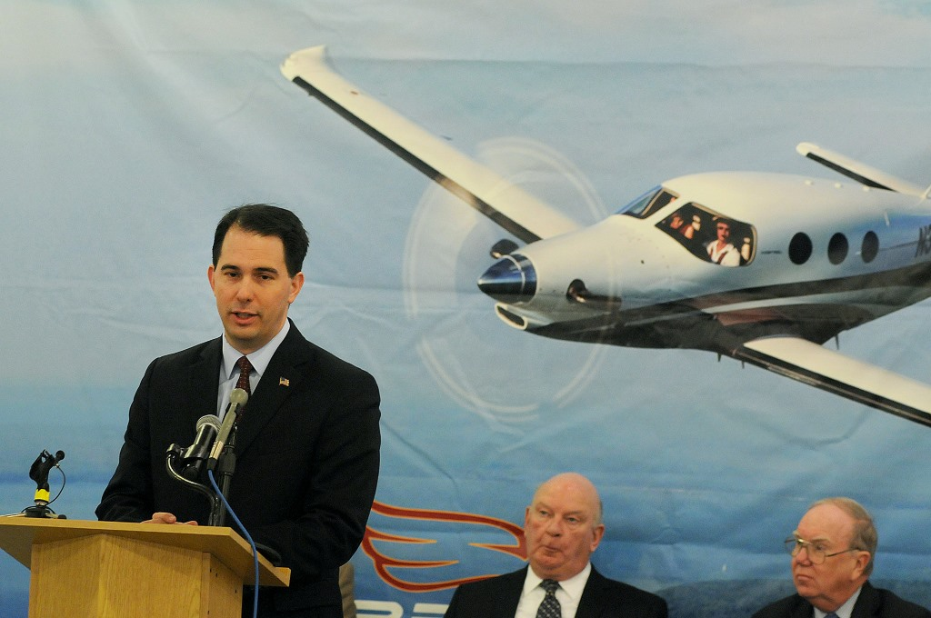 Gov. Scott Walker announces up to $20 million in state subsidies in 2012 for Kestrel Aircraft, which has promised to bring more than 600 jobs to Superior. Three and a half years later, the company, which received state assistance without a full financial review, has created just a few dozen jobs. Kestrel had also promised to bring hundreds of jobs to Brunswick, Maine, before moving its headquarters to Wisconsin in 2012. Photo by Jed Carlson of the Superior Telegram.