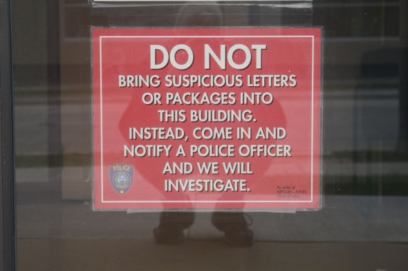 Sign at Police Building at 2620 W. Wisconsin Ave. Photo by Carl Baehr.