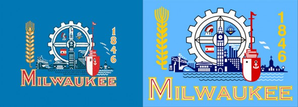Two Milwaukee Flags (original on left)