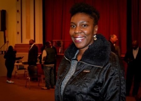 Camille Mays attended the town hall meeting to voice her concerns regarding neighborhood development and vacant homes in the area. Photo by Marlita A. Bevenue.