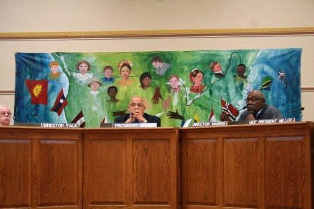 MPS Board Director Wendell Harris (right) shocked many with his vote in support of the partnership proposal. Photo by Jabril Faraj.