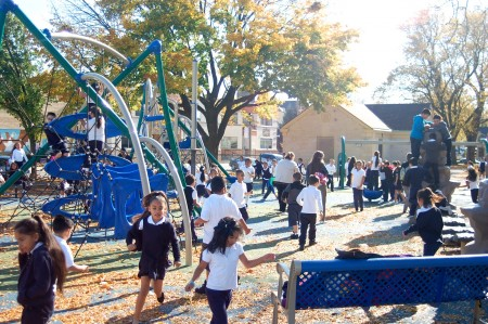 Some Walker Square residents have complained about what they describe as excessive use of the playground by Bruce Guadalupe Community School students. Photo by Edgar Mendez.
