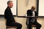 Chief Edward Flynn (left) of the Milwaukee Police Department answered questions from community leaders, moderated by Eric Von of WNOV 860. Photo by Wyatt Massey.