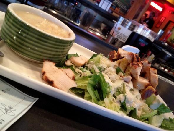Clam Chowder and Chicken Ceasar Salad. Photo by Joey Grihalva.