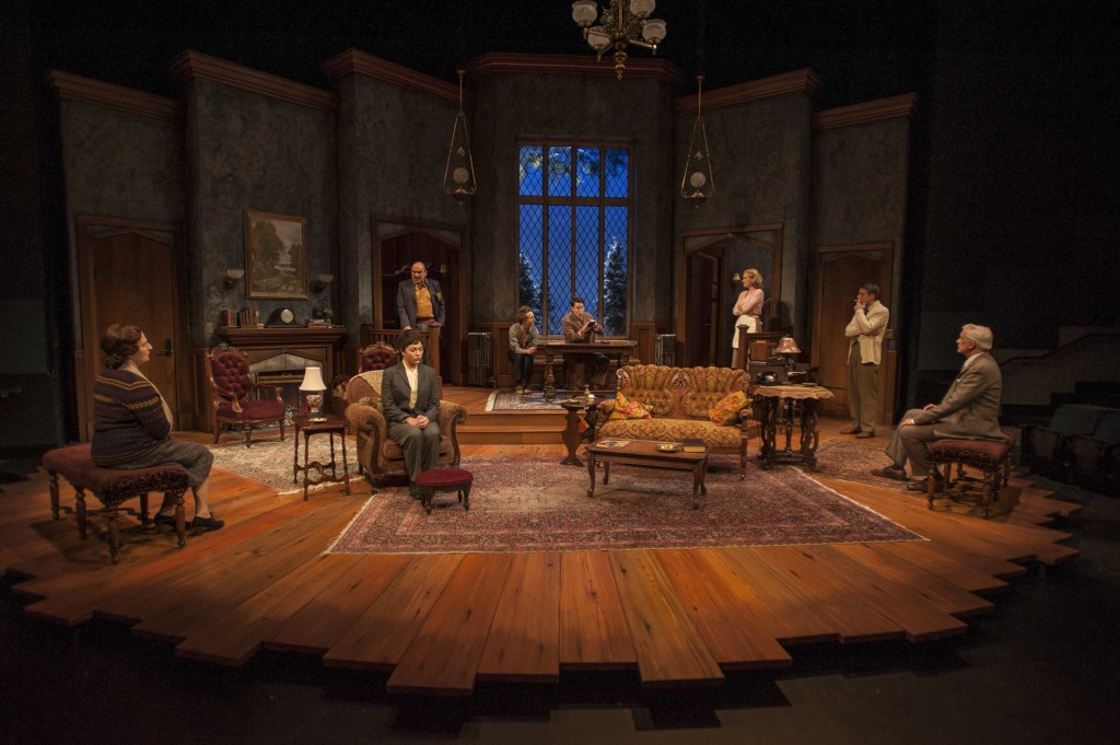 Milwaukee Repertory Theater presents The Mousetrap in the Quadracci Powerhouse from November 17 to December 20, 2015. Left to right: Laura Gordon, Greta Wohlrabe, Greg Vinkler, Brendan Meyer, Will Allan, Kelley Faulkner, Matthew Mueller, and Jonathan Gillard Daly. Photo by Michael Brosilow.