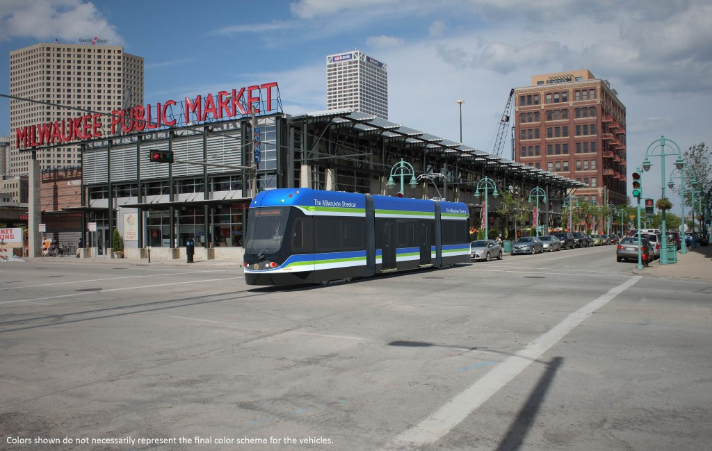 A rendering of a Brookville streetcar in Milwaukee's Third Ward. Milwaukee's streetcars will be manufactured by U.S.-based Brookville Equipment Corp.