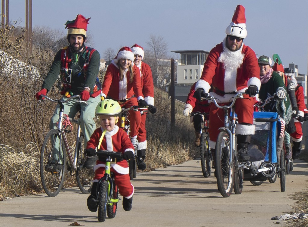 Kids and balance bikes are welcome and encouraged on today's family friendly official Santa Cycle Rampage.