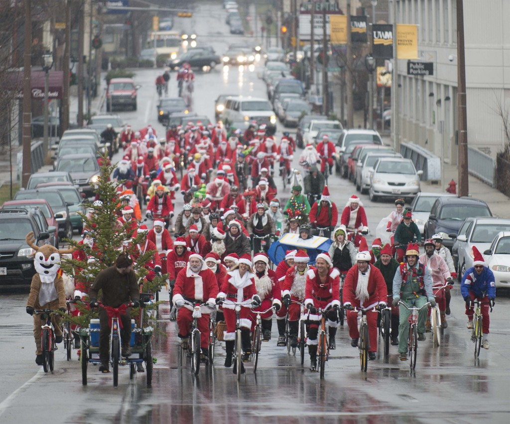 Even in years when it was 40 degrees and raining we have had hundreds of Santas show up to Rampage. Awesome, but disconcerting without insurance for the ride.