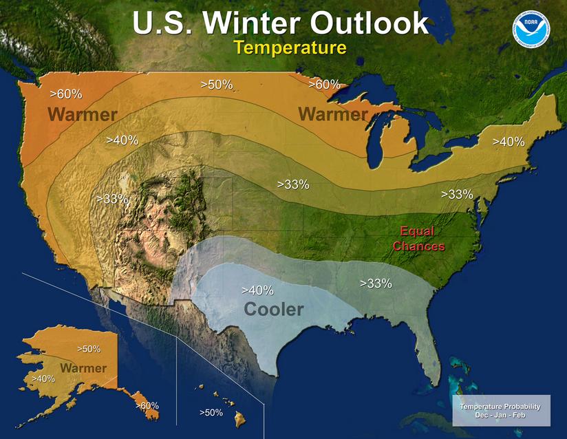U.S. winter outlook 2015-16. Image: NOAA