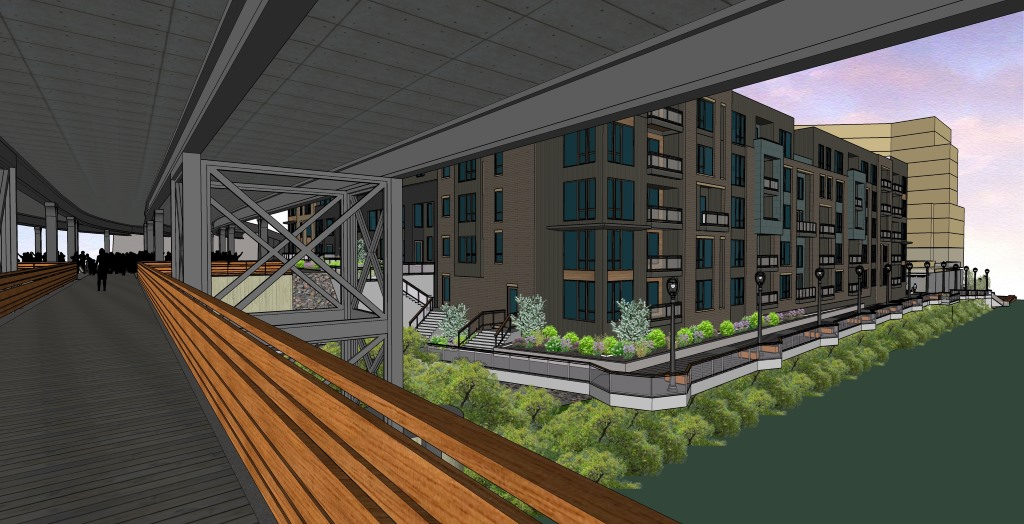 Water & Brady, 1701 N. Water St.., Rendering from the  Marsupial Bridge.