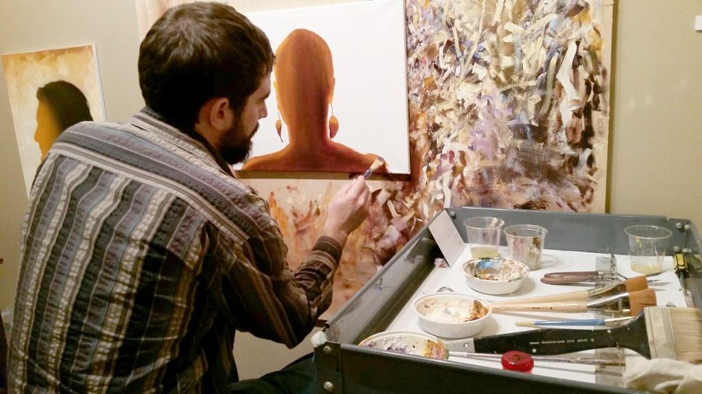 Todd Mrozinski working in the Pfister Studio.