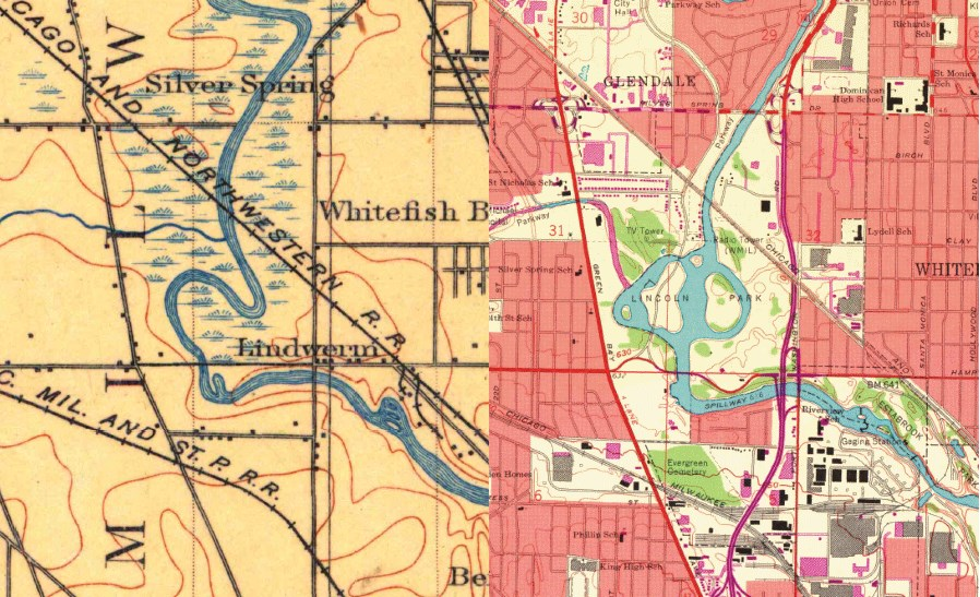 1901 Map on the left and 1958 Map on the right.