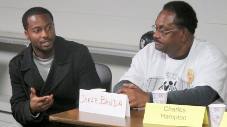 EXPO members Jafar Banda (left) and Charles Hampton shared their advocacy work during a panel discussion. Photo by Wyatt Massey.