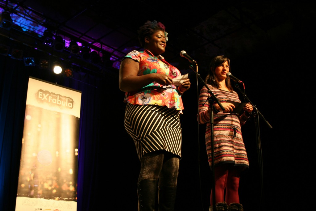 Tiffany Miller (left) and Megan McGee introduce the storytellers. Photo by Jabril Faraj.