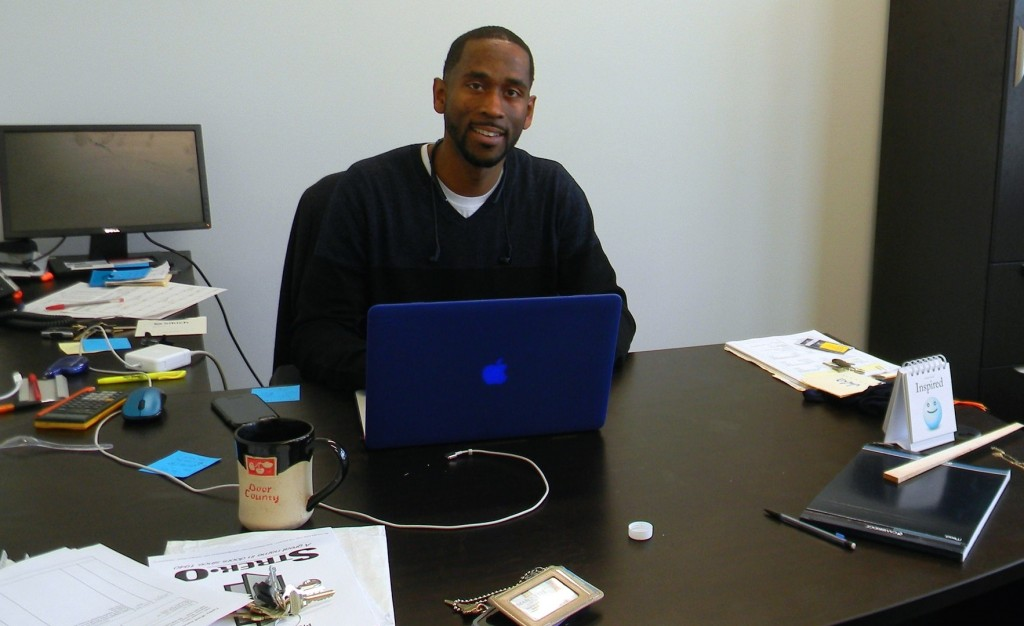 Jalin Phelps works in his new office. Photo by Stephanie Harte.