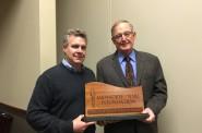 Tom Callen (right), Milwaukee NARI Foundation president, and Bingo Emmons, Spirit of Volunteerism Award recipient. Photo courtesy of the Milwaukee NARI.