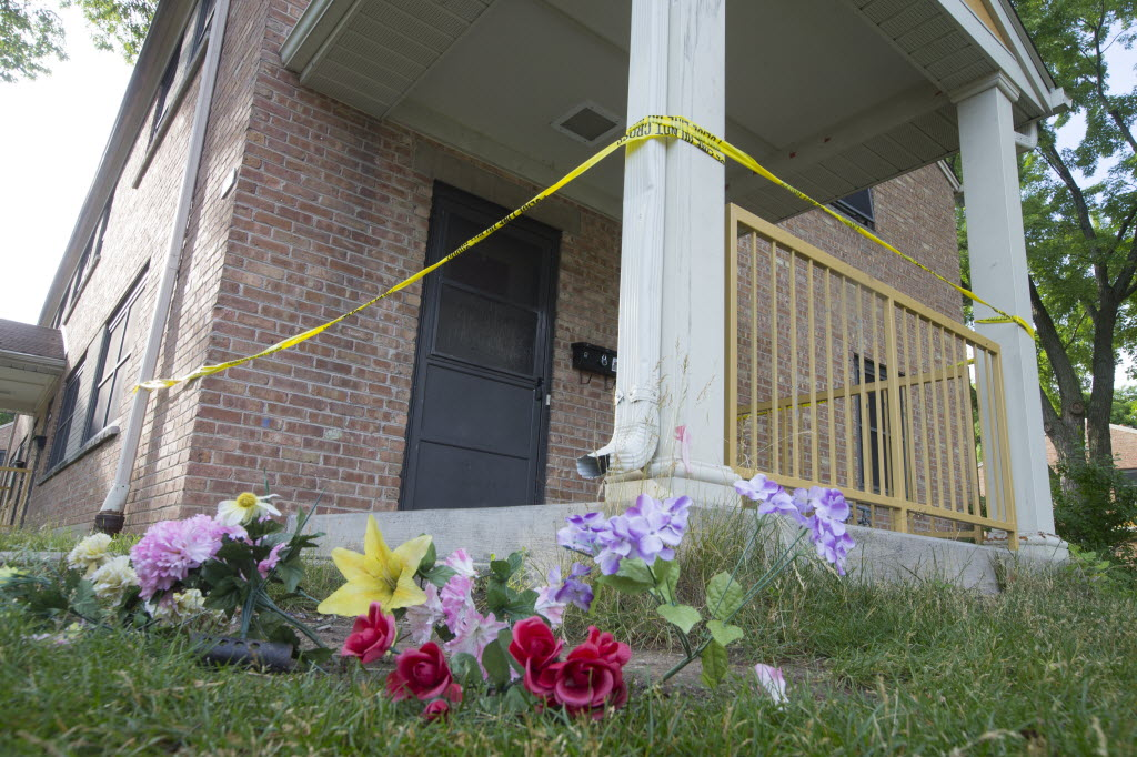 Police tape marks the scene where 13-year-old Giovonnie G. Cameron was shot and killed near Lincoln Park in Milwaukee on July 8. As of Nov. 15, fatal shootings in Milwaukee are up 77 percent compared to the same period in 2014. Photo by Mark Hoffman of the Milwaukee Journal Sentinel.