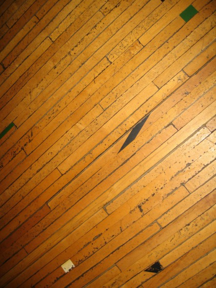 Old wood floors from a gymnasium in Belgium (Wisconsin). Photo by Michael Horne.