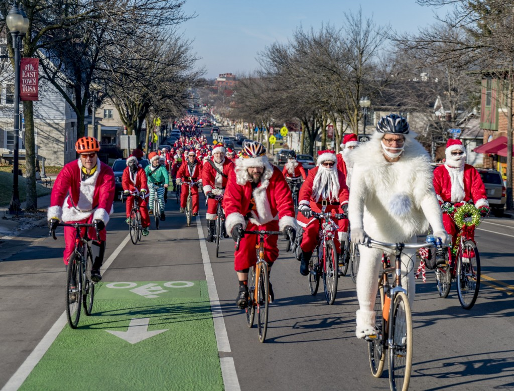 Yes, Bumbles bounce, but this one never hit the pavement thanks to the safe ride support provided by the Milwaukee and Wauwatosa Police Departments. 500 people joined us for the inaugural ride down the green bike lanes on North Avenue in East Tosa!