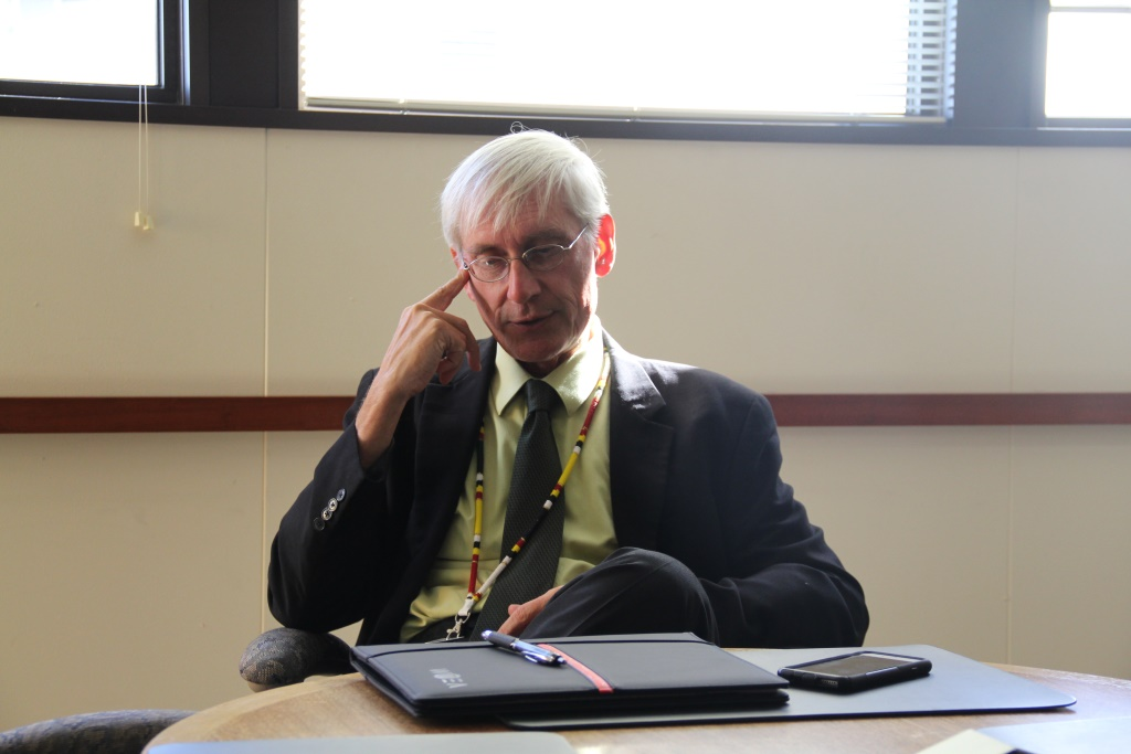 "State Superintendent of Public Instruction Tony Evers, Wisconsin's top education official since 2009, describes the state's racial achievement gap as ""extraordinarily horrible."" Photo by Haley Henschel of the Wisconsin Center for Investigative Journalism."