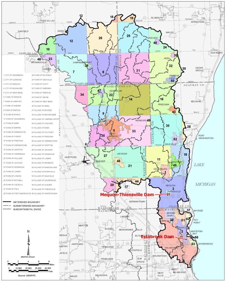 Map of the Milwaukee River Watershed (from SEWRPC, 2010)