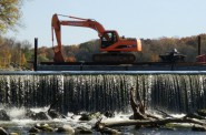 View of repairs in progress at the Mequon Thiensville Dam in 2010.