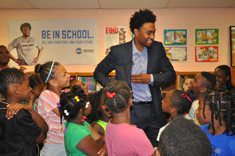 Jabari Parker at the August event launching the Bucks-MPS attendance campaign. Photo courtesy of MPS.