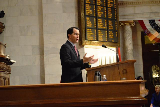 Governor Scott Walker introduces his Freedom and Prosperity budget proposal to the citizens of Wisconsin. Photo from the State of Wisconsin.