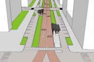 One option for a bus rapid transit line on Wisconsin Avenue includes dedicated bus lanes in the center of the street, along with new pedestrian medians and bus shelters. Image courtesy of the University of Wisconsin-Milwaukee.