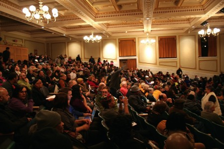 Attendees packed the 700-seat Centennial Hall. Photo by Jabril Faraj.