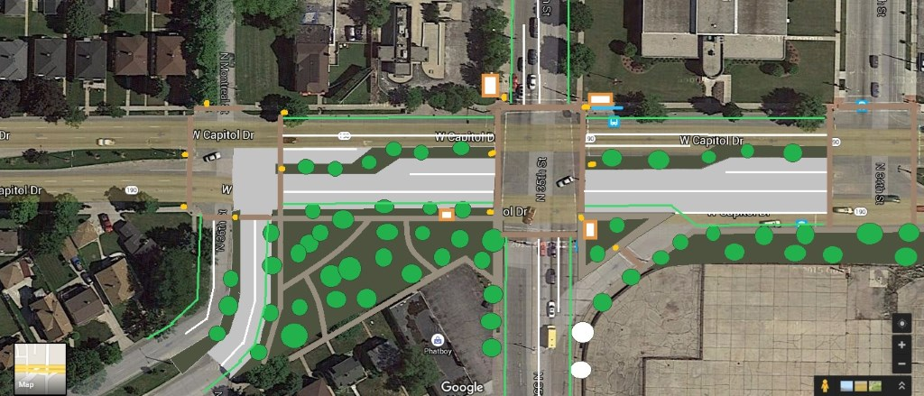 Redesigned W. 35th St. and N. Capitol Dr. intersection by John O'Neill.