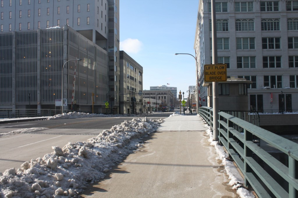 A bridge over the river at Michigan Street brought development. Photo by Carl Baehr.